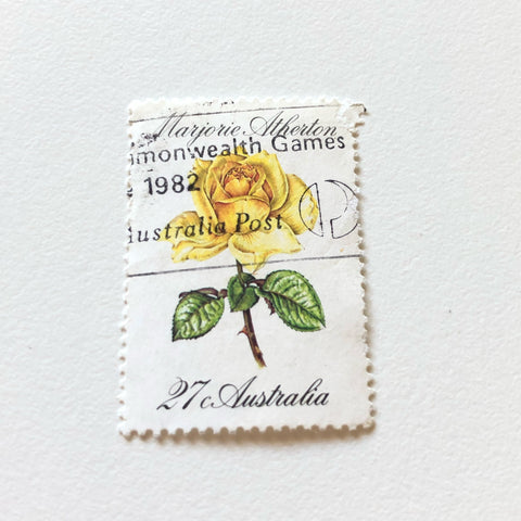 Australian postage stamp with postmark commemorating the Commonwealth Games
