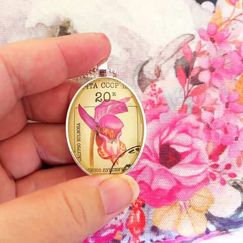vintage postage stamp pendant necklace by Starzyia