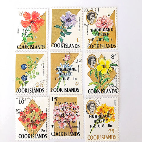 """vintage postage stamps with postmark """"hurricane relief"""" from Cook Islands in the 1960's"""