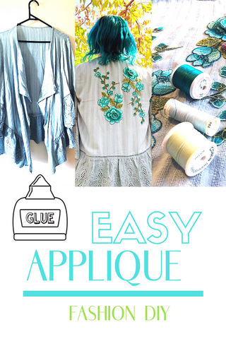 learn how I easily applied extensive floral applique to a fashion shirt without sewing a stitch