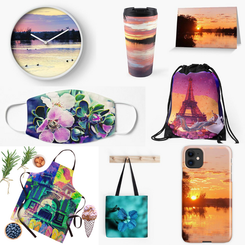 collage of Starzyia Redbubble products featuring our original photography