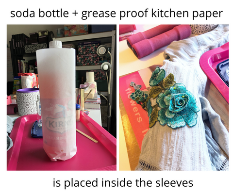 in order to wrap the appliqués around the sleeves I used a soda bottle inside the sleeve