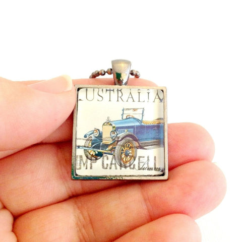 1923 Summit Car necklace, unisex pendant - StarzyiaVintage Postage Stamp Jewellery
