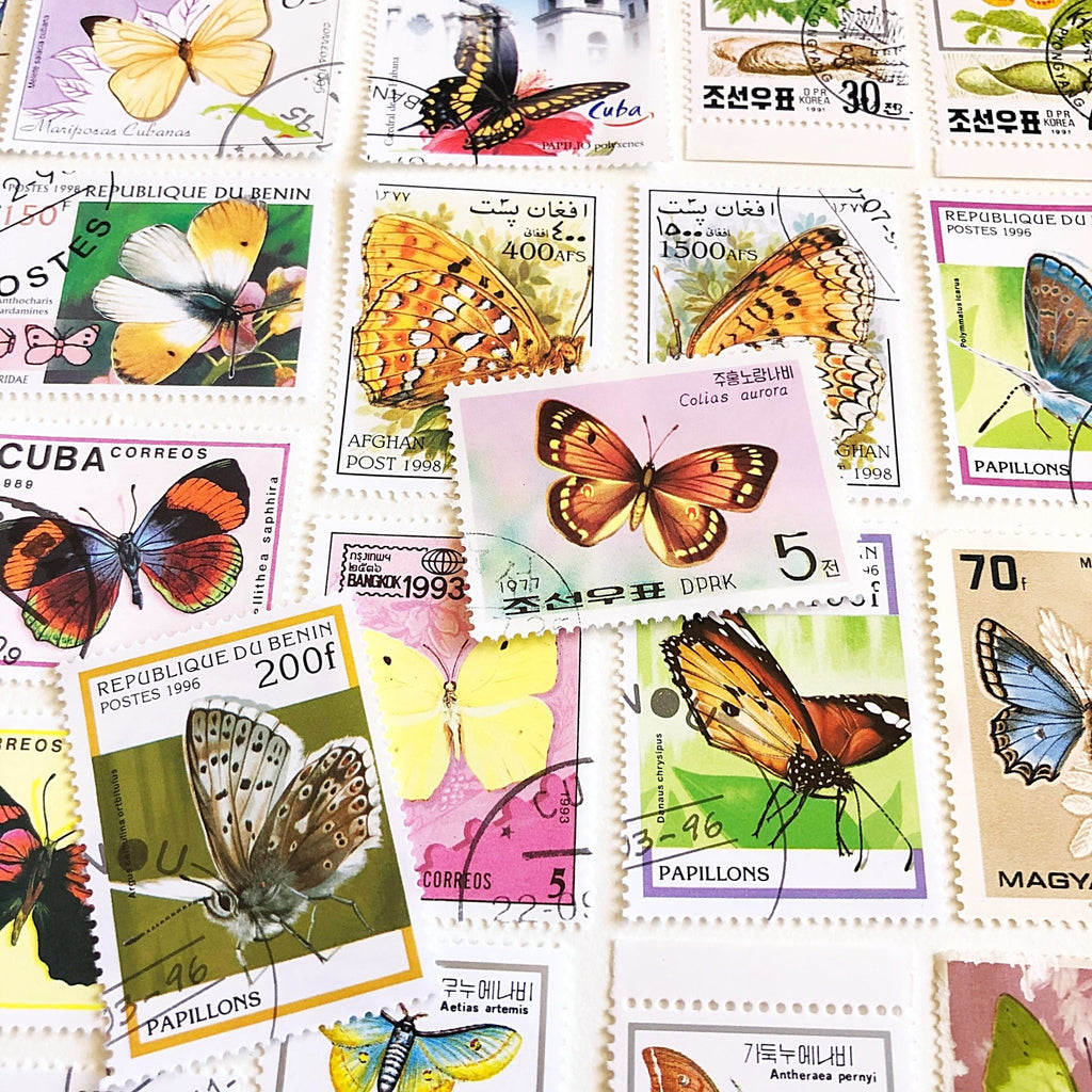 50 Butterfly postage stamps, mixed vintage, used, for craft - StarzyiaPostage Stamps