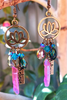 boho hippie lotus earrings with quartz and sparkling bead dangle
