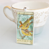 kiralyka bird domino necklace, vintage 1973 Magyar Posta stamp jewelry