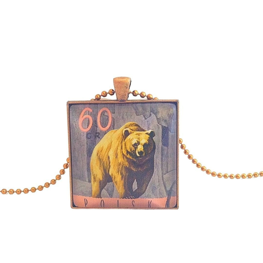 bear necklace, 1967 postage stamp, unisex pendant - StarzyiaVintage Postage Stamp Jewellery