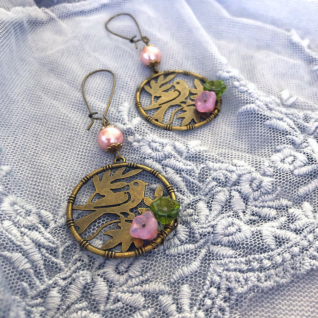 bird earrings, vintage style jewellery - StarzyiaEarrings