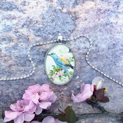bird necklace, 1990 postage stamp pendant, upcycled vintage - StarzyiaVintage Postage Stamp Jewellery