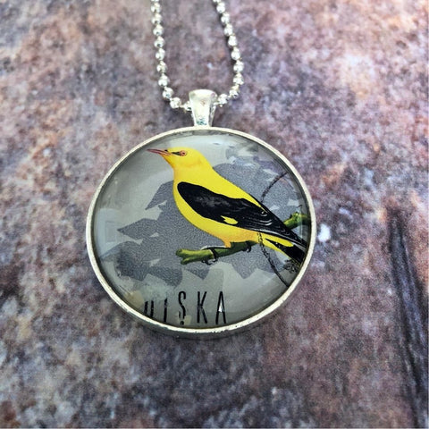 bird postage stamp necklace, vintage 1966 Polska - StarzyiaVintage Postage Stamp Jewellery