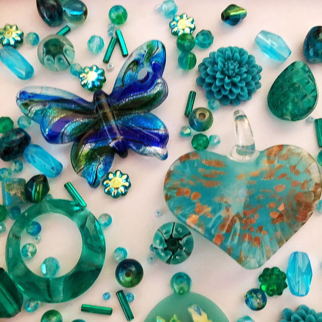 blue and aqua bead mix, glass, resin, flower cabochons, jewellery supplies - StarzyiaBeads