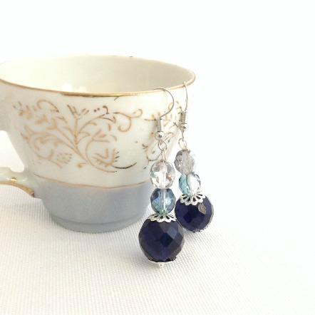 blue beaded dangle earrings - StarzyiaEarrings