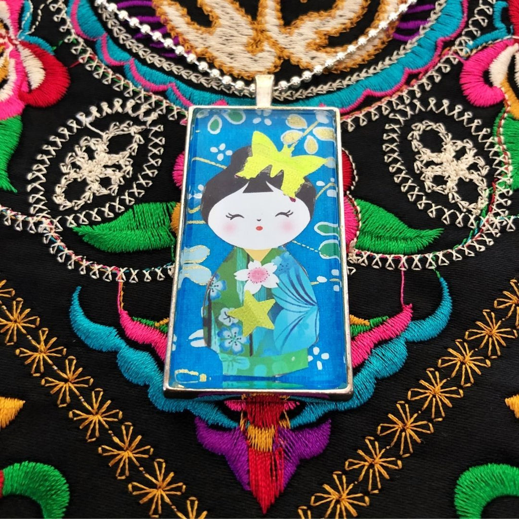 blue kokeshi doll necklace, domino pendant - StarzyiaArt & Collage Pendants