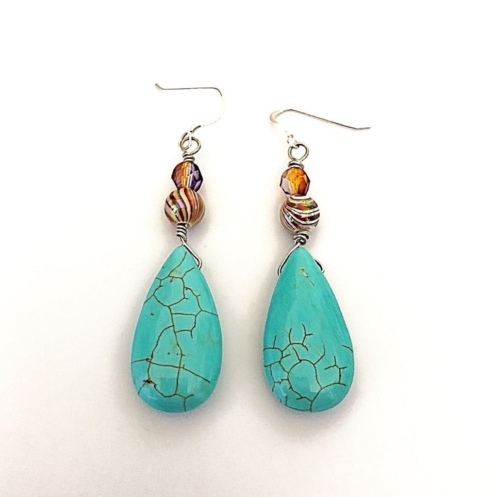 boho dangle earrings, turquoise howlite teardrops - StarzyiaEarrings
