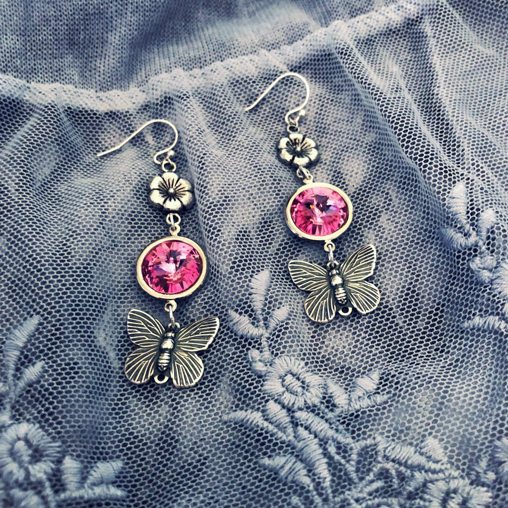 butterfly earrings, pink crystal rivoli chandeliers - StarzyiaEarrings