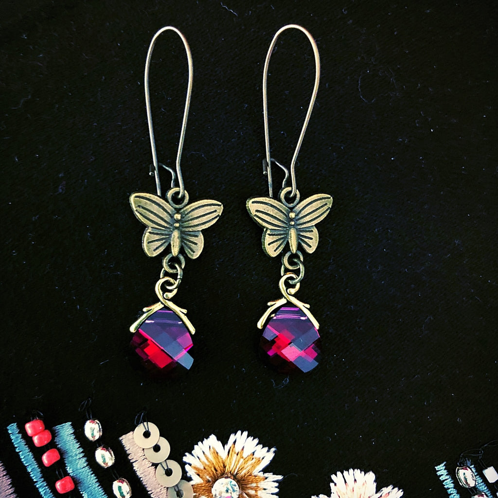butterfly earrings, sparkling ruby crystal dangle - StarzyiaEarrings