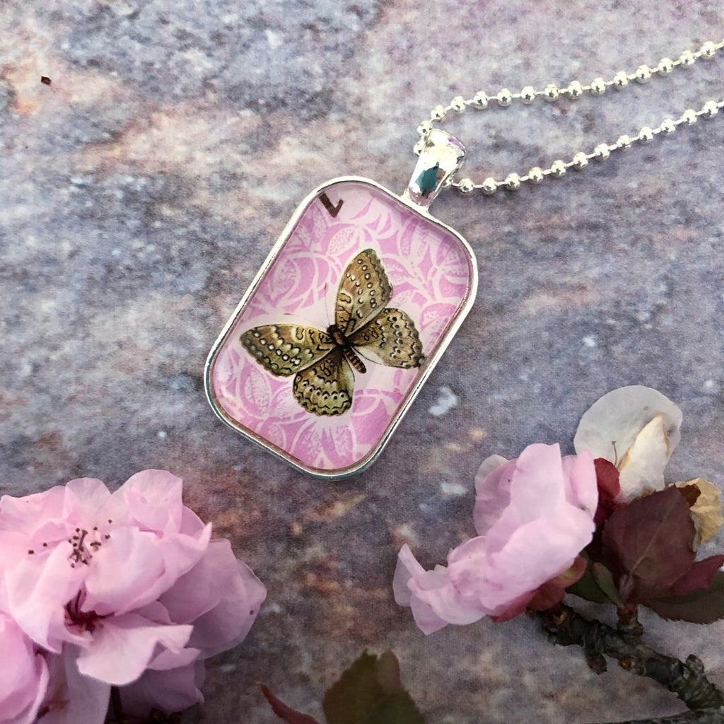 butterfly necklace, 1971 postage stamp, pink pendant - StarzyiaVintage Postage Stamp Jewellery