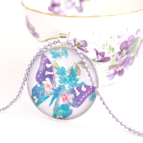 butterfly necklace, bohemian watercolour, blue and purple - StarzyiaArt & Collage Pendants