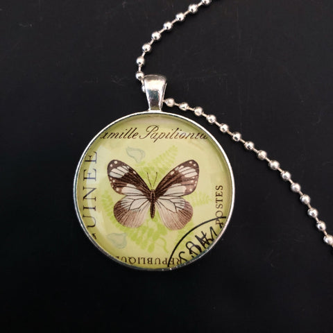 butterfly pendant, unisex necklace with postage stamp from 1963 - StarzyiaVintage Postage Stamp Jewellery