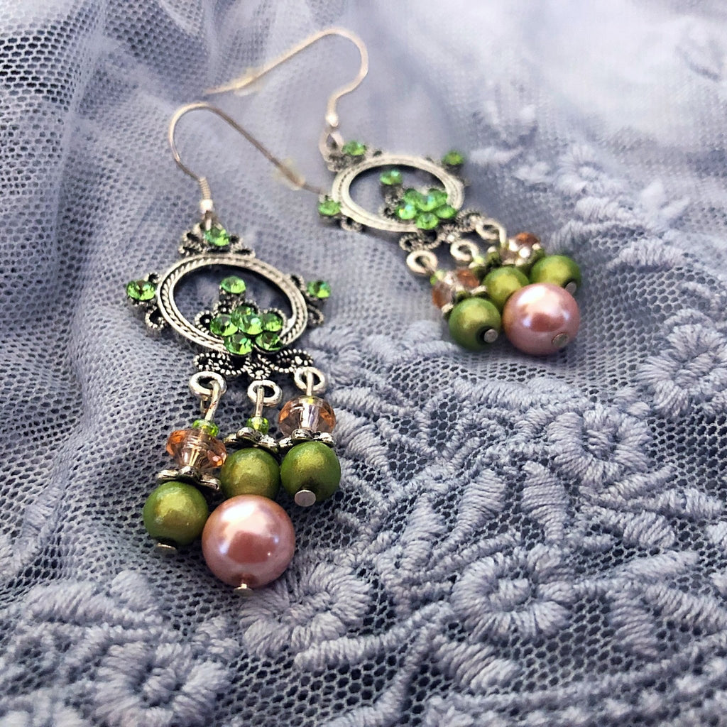 chandelier earrings, sparkling pink and green - StarzyiaEarrings
