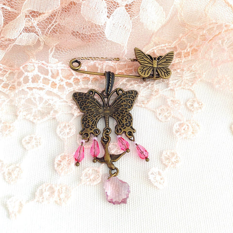 chandelier shawl pin, butterfly brooch, bronze and pink crystal - StarzyiaShawl Pin