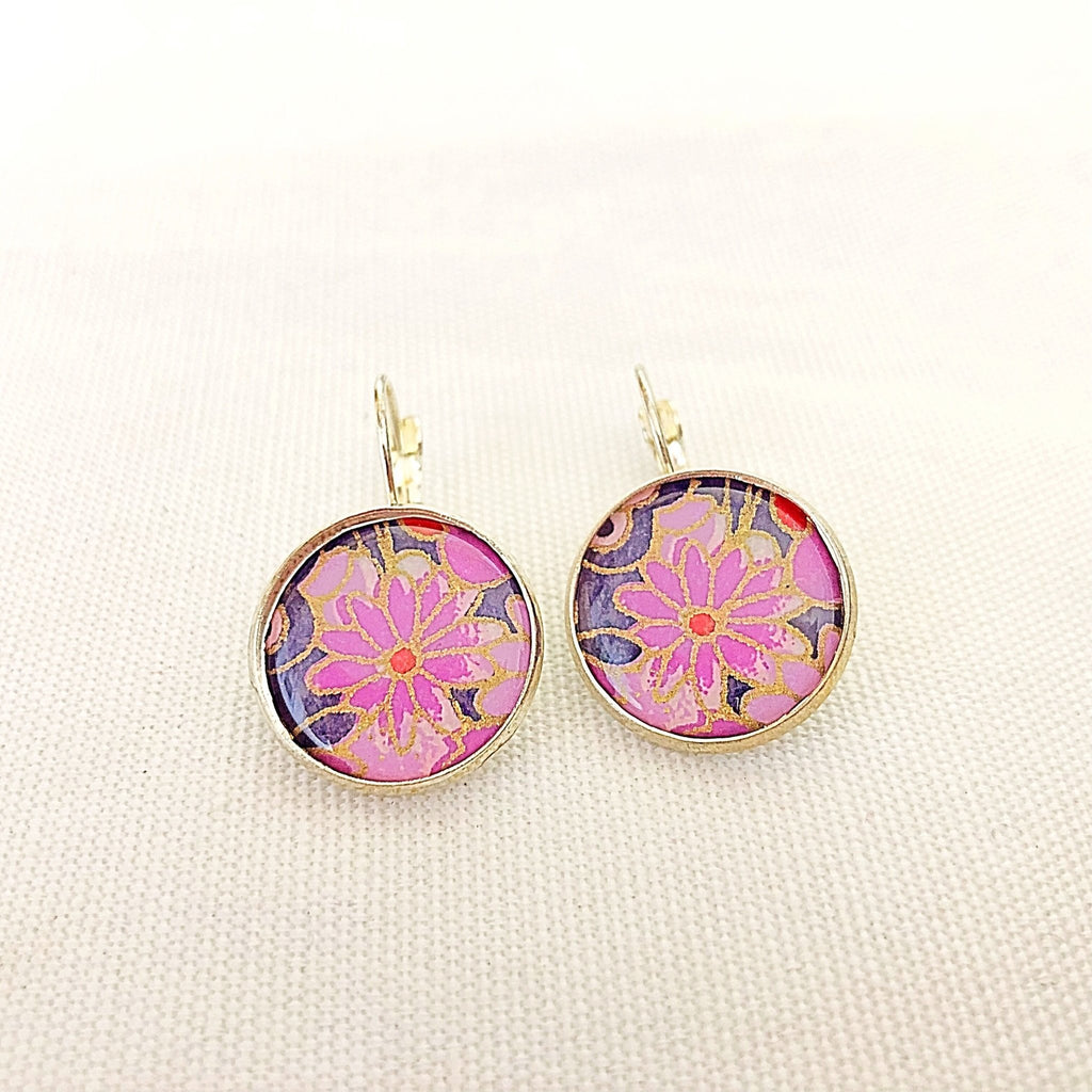 chiyogami print flower earrings with leverback closure - StarzyiaEarrings