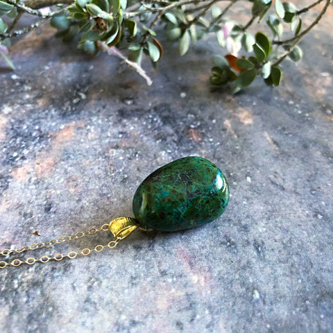chrysocolla pendant, tumbled gemstone necklace with fine chain - StarzyiaNecklace