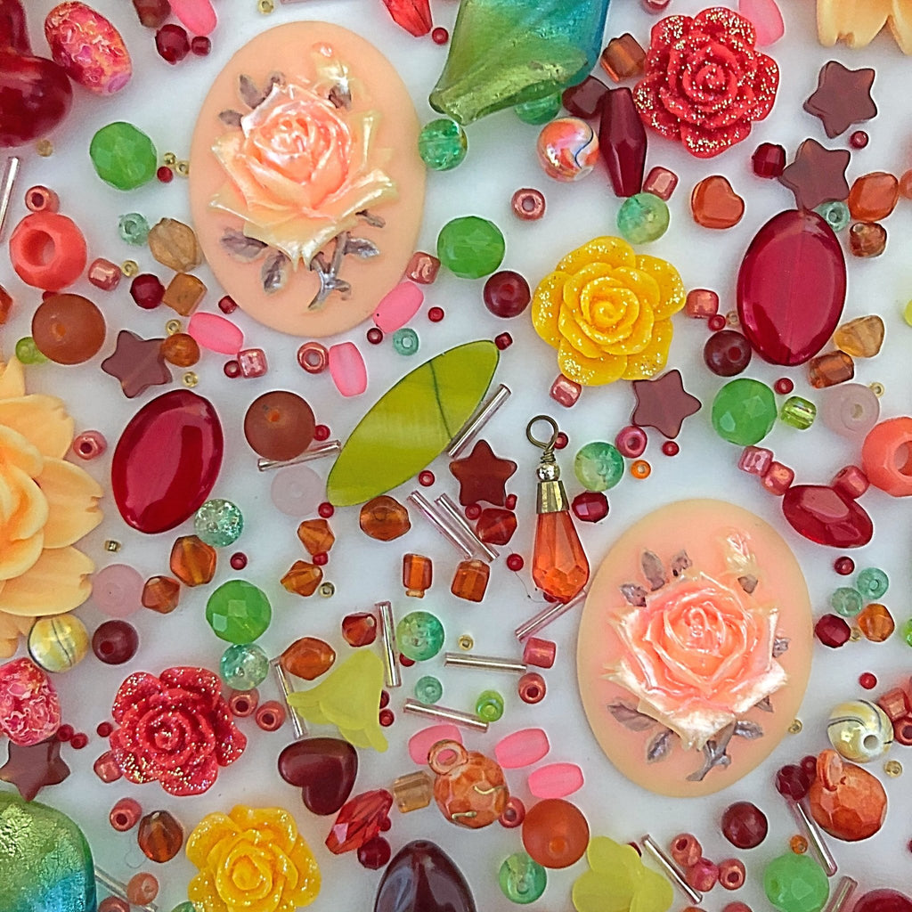 citrus coloured beads, assortment of glass, resin, flower cabochons, jewellery supplies - StarzyiaBeads