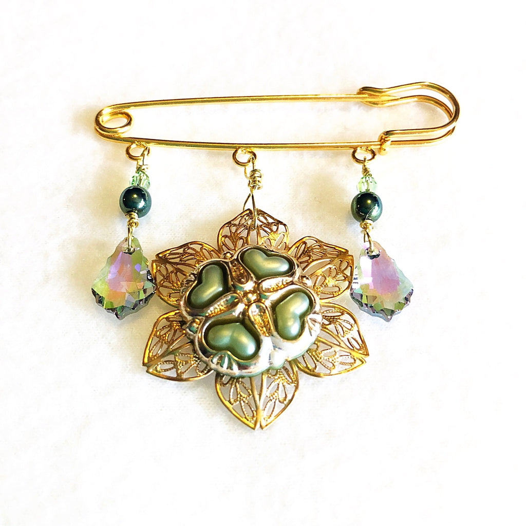 crystal safety pin brooch, bohemian shawl pin, green and gold - StarzyiaShawl Pin