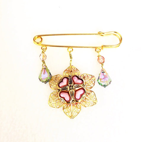 crystal shawl pin brooch with baroque crystal and vintage button - StarzyiaShawl Pin