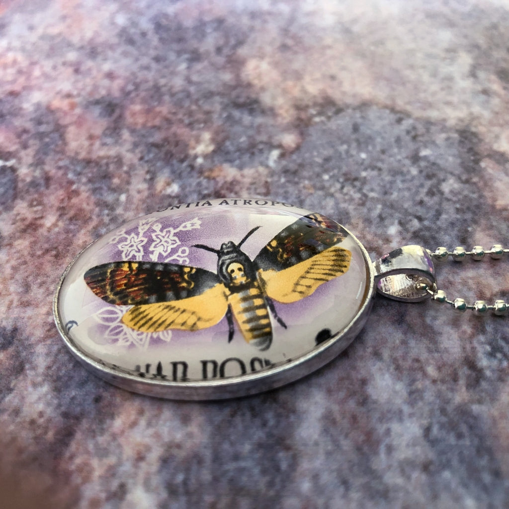death's head moth pendant, unisex necklace with vintage 1959 postage stamp - StarzyiaVintage Postage Stamp Jewellery