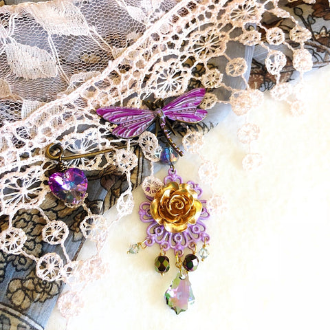 dragonfly brooch, chandelier shawl pin with golden rose and baroque crystal - StarzyiaShawl Pin