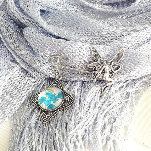 fairy shawl pin, blue floral brooch, rhombus star - StarzyiaShawl Pin