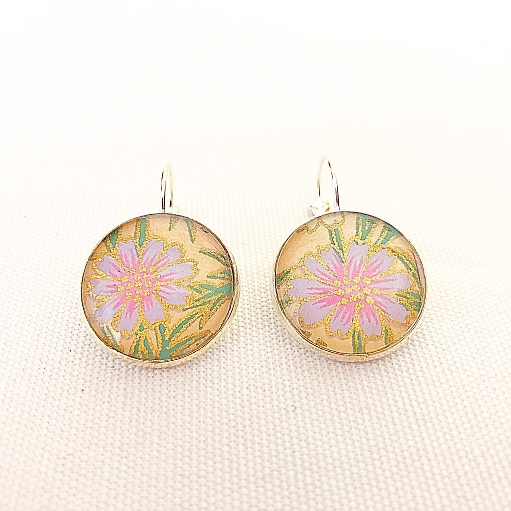floral leverback earrings, shimmering chiyogami print - StarzyiaEarrings
