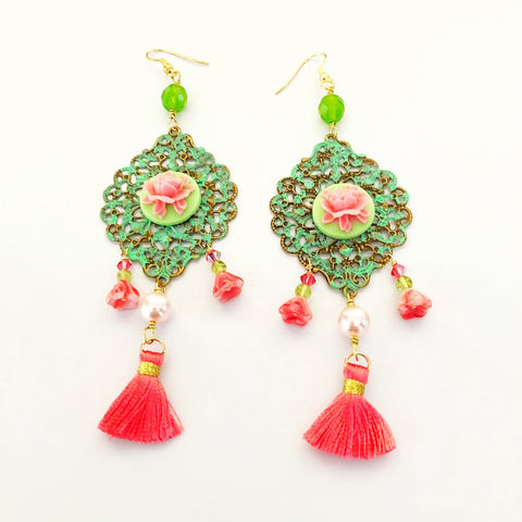 floral tassel earrings, pink and green - StarzyiaEarrings