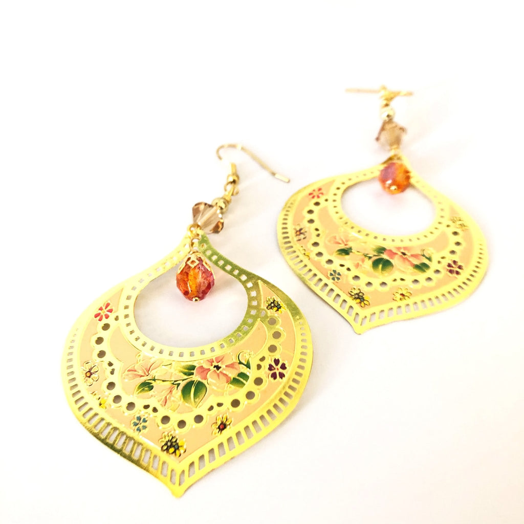 golden teardrop earrings, floral pattern laser lace - StarzyiaEarrings