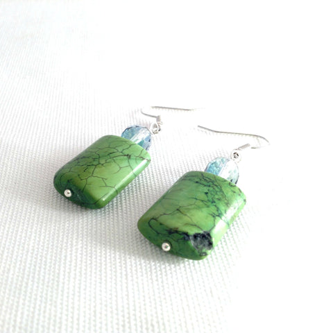 green howlite earrings, beaded dangle with fire polished beads - StarzyiaEarrings