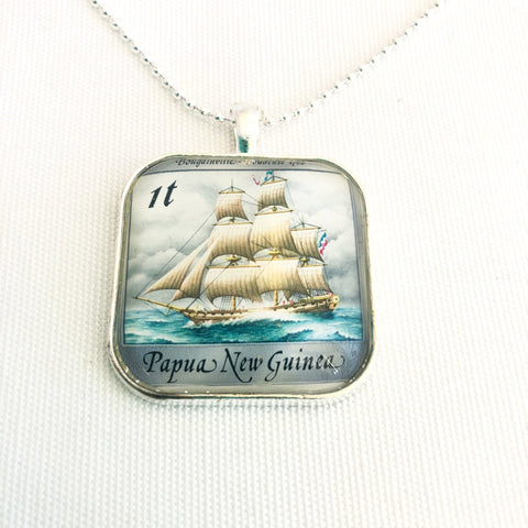 historic ship necklace, sailing frigate on vintage postage stamp - StarzyiaVintage Postage Stamp Jewellery