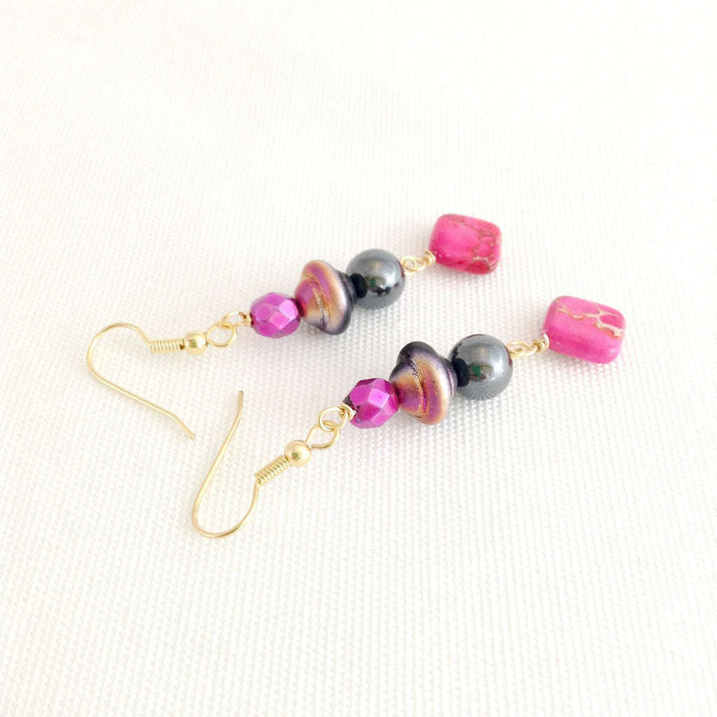 hot pink and black beaded dangle earrings - StarzyiaEarrings