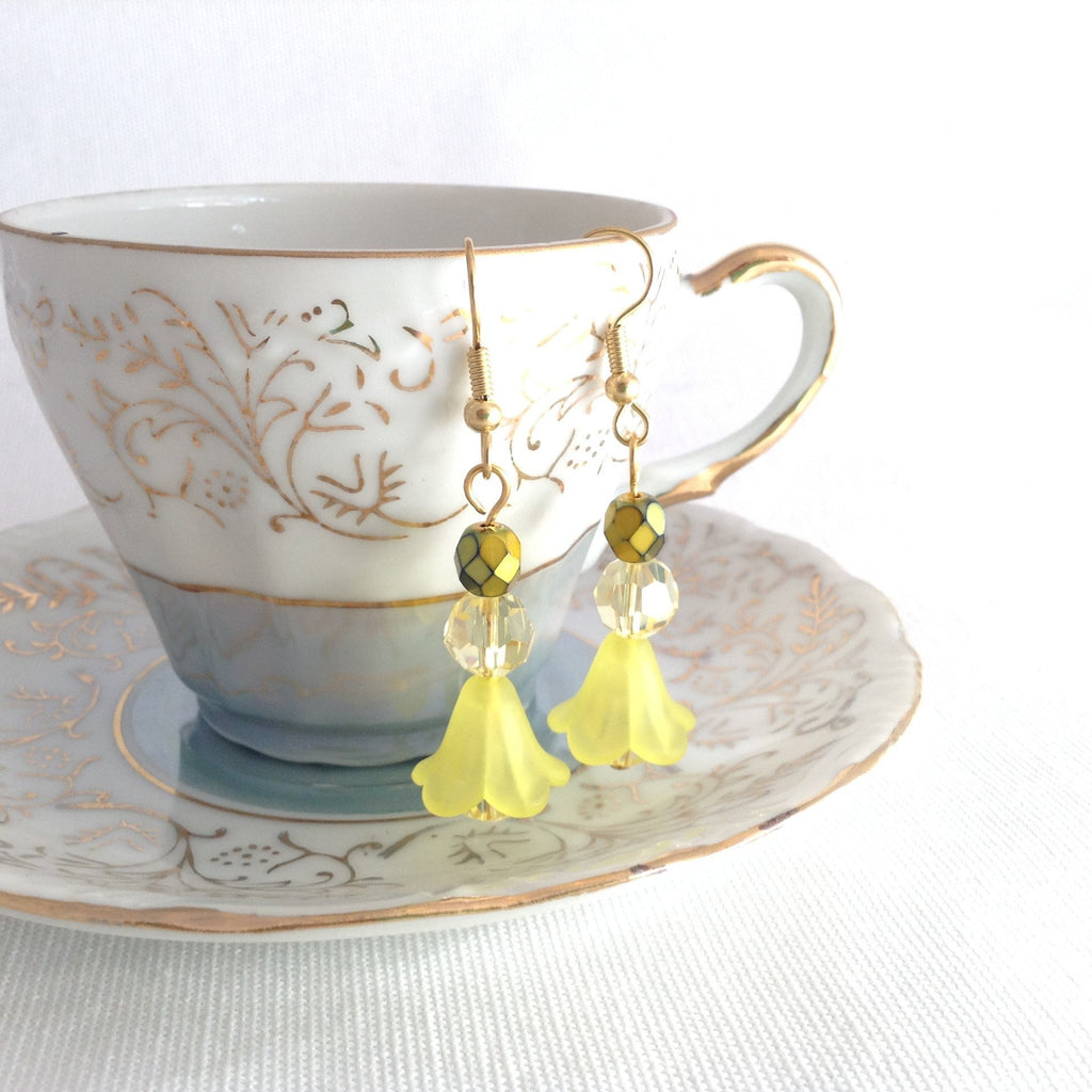 jonquil earrings, yellow flower jewellery - StarzyiaEarrings