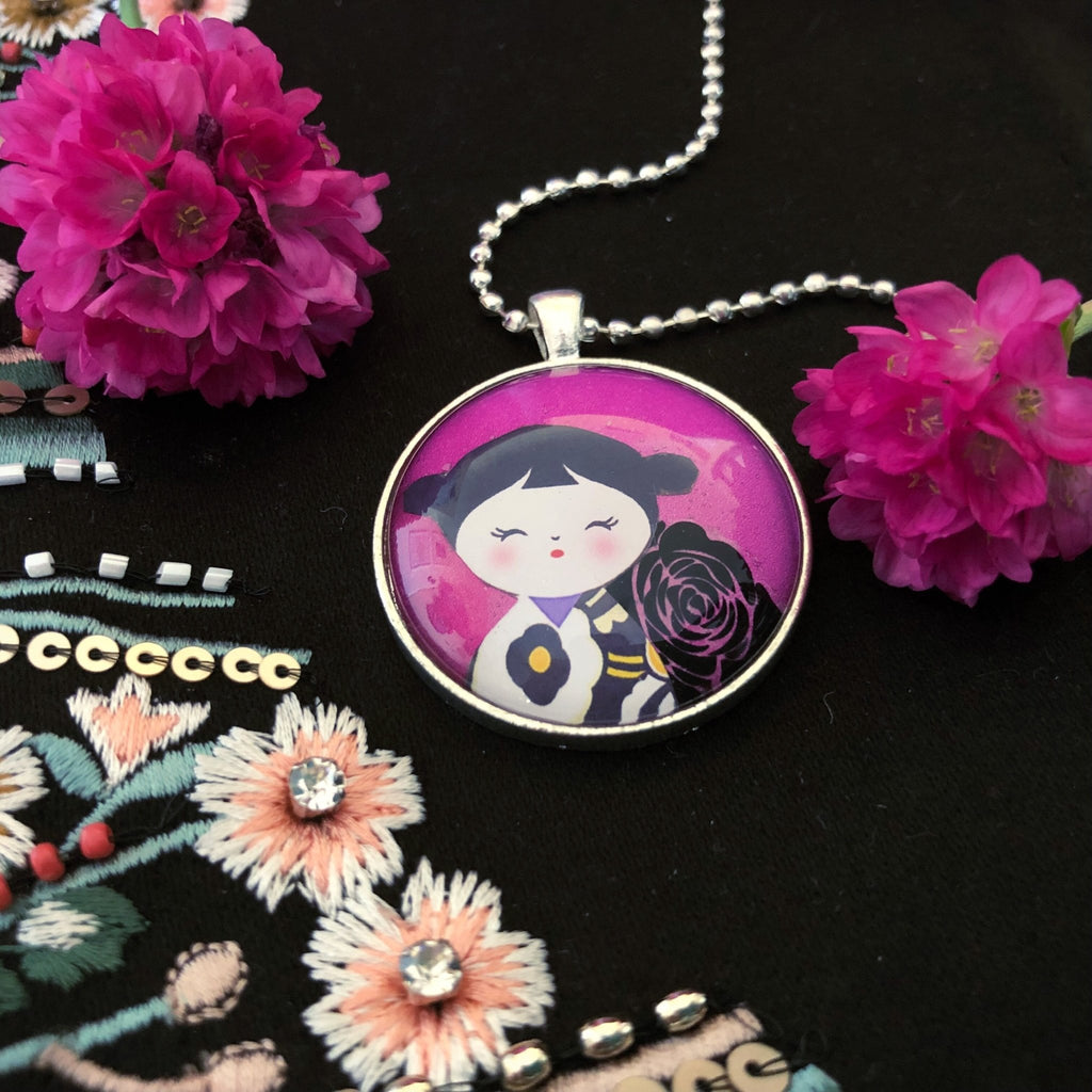 kawaii doll necklace, kokeshi - StarzyiaNecklace