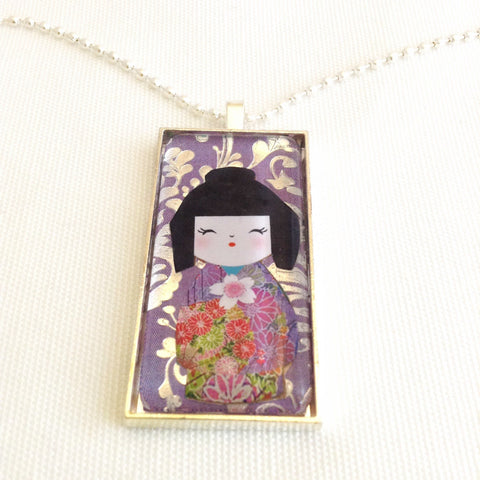 kokeshi doll necklace, kawaii domino pendant - StarzyiaArt & Collage Pendants