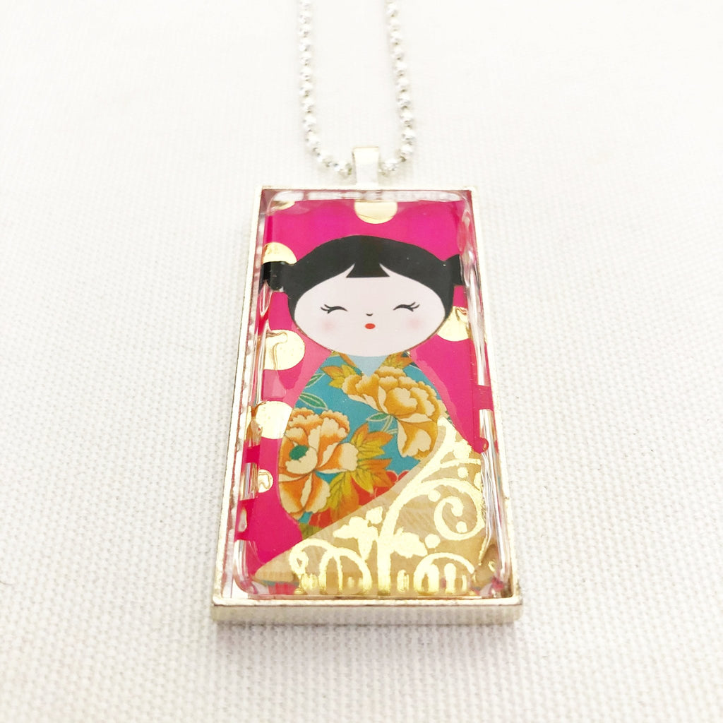 kokeshi doll pendant necklace, floral kimono hot pink and gold - StarzyiaArt & Collage Pendants