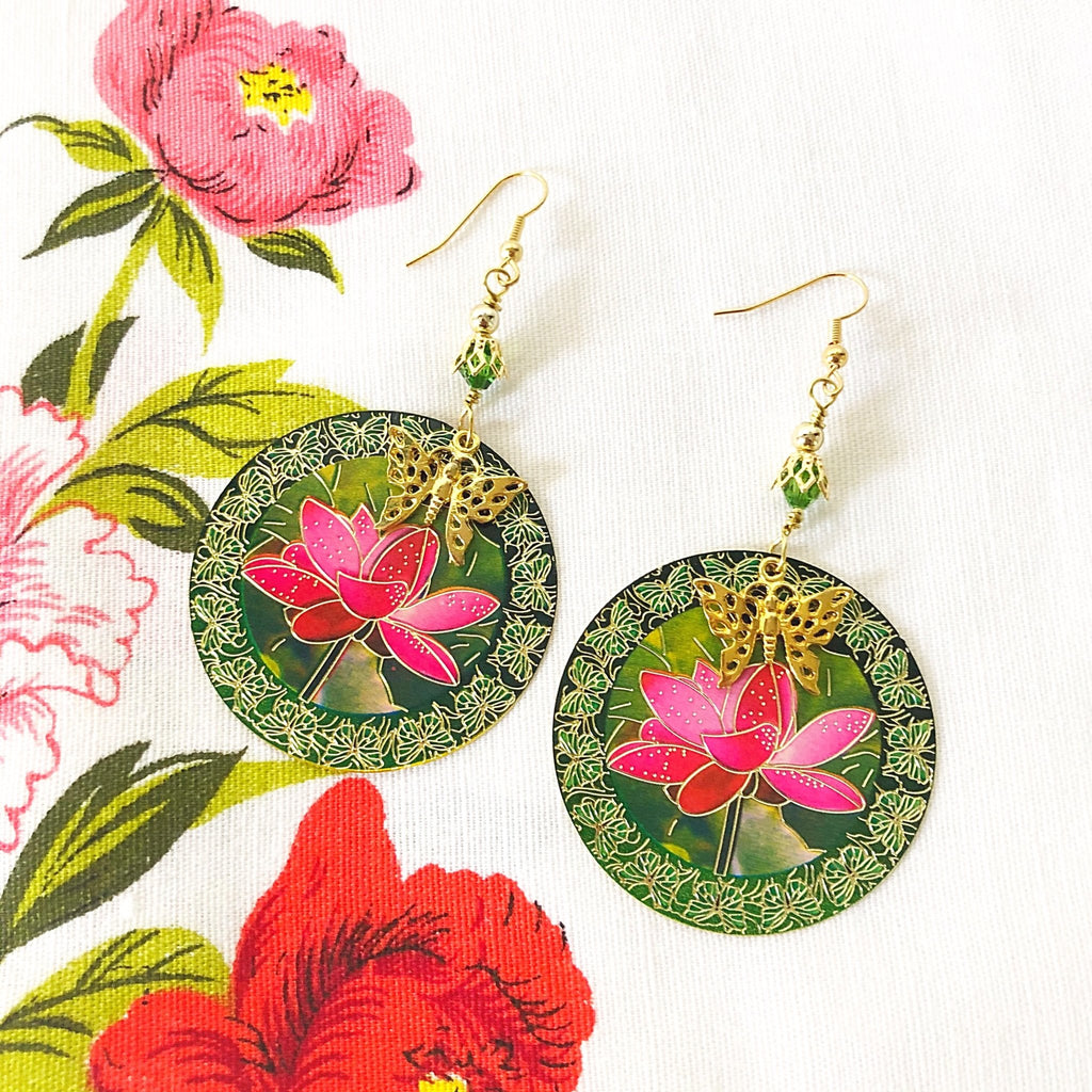 lotus flower earrings with butterfly motif, hot pink and green - StarzyiaEarrings