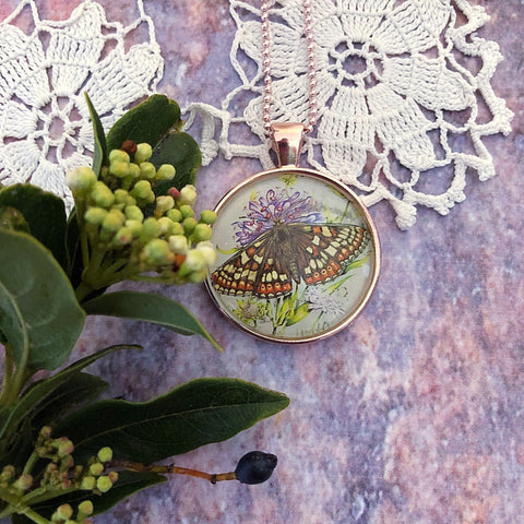 marsh fritillary butterfly necklace, featuring postage stamp - StarzyiaVintage Postage Stamp Jewellery