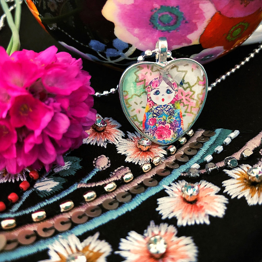 matryoshka doll love heart necklace, floral - StarzyiaArt & Collage Pendants