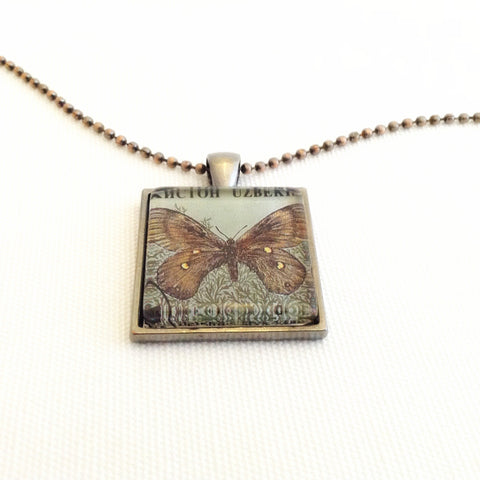 men's butterfly pendant necklace, upcycled postage stamp, 1995 - StarzyiaVintage Postage Stamp Jewellery