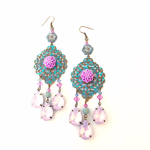 Moroccan style chandelier earrings, floral filigree - StarzyiaEarrings