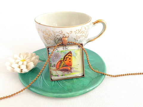 orange butterfly necklace, postage stamp jewellery - StarzyiaPostage Stamp Jewellery