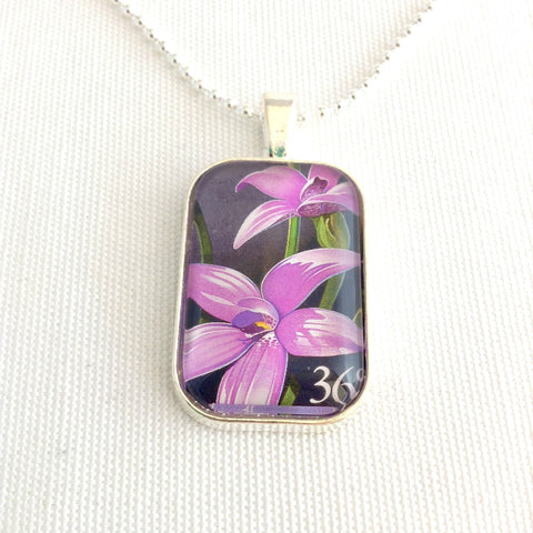 orchid necklace, Australian native wildflower postage stamp 1986 - StarzyiaVintage Postage Stamp Jewellery